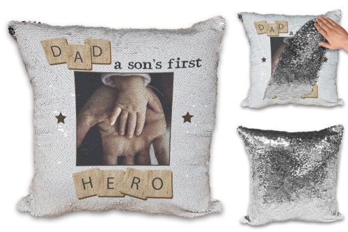 Personalised Dad, A Son's First Hero Sequin Reveal Magic Cushion Cover